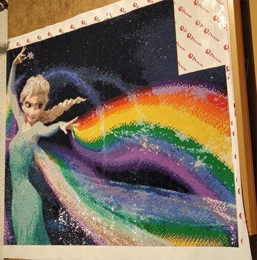 elsa, regenboog, diamond painting