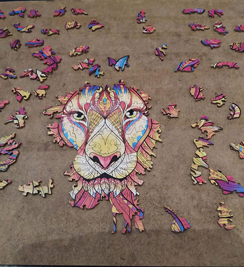 houten puzzel leeuwenkop